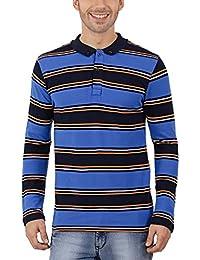 Nick&Jess Mens Blue Multi Striped Full Sleeve Polo T-Shirt