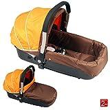Nacelle auto landau pour bébé, coloris brown et orange - N11