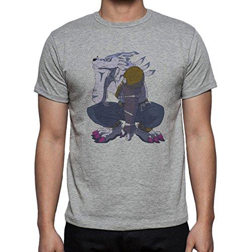 Digimon Garurumon Wolf Gabumon Think Herren T-Shirt Grau