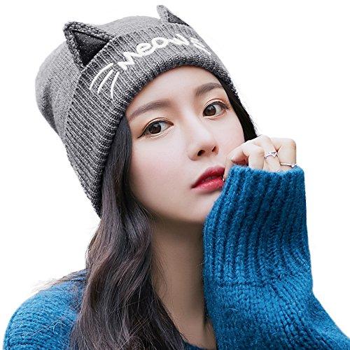 Warme dicke Strickmütze Wintermütze mit Katzenohren gestricke Beanie Mütze SIGGI Grau