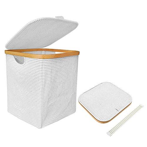 Mr.do Cesta de lavandería con tapa Cesta de almacenamiento para ropa Juguetes niños Tela Algodón y lino Marco de bambú Negro Blanco Strip 41L