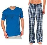 UNCOVER by SCHIESSER, Set: Herren Schlafanzug: Schlafanzugshose + Schlafshirt, cobalt blau, 139515+139518, Größe:L