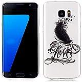 "We Love Case TPU Silicona Funda para Samsung Galaxy S7 Edge 5.5"" Transparente Carcasa Flexible Suave Silicone Bumper Case Cover Delgado Cristal Claro Cubierta Caso de Parachoques Resistente a los arañazos - Dibujo Love Pluma"