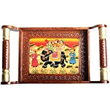 Apka Mart The Online Shop Handcrafted Traditional Wooden Hand Painted Serving Tray (13 Inch)