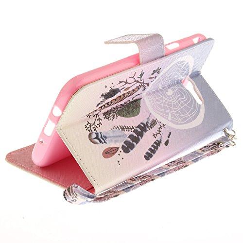 Qiaogle Téléphone Coque - PU Cuir rabat Wallet Housse Case pour Apple iPhone 5 / 5G / 5S / 5SE (4.0 Pouce) - TX85 / Music Dog TX62 / Dreamcatcher