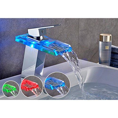 Auralum Kreativ LED Glas Wasserfall Wasserhahn Chrom Waschbeckenarmatur Waschtischarmatur Einhebelmischer 3 Farbewechsel Typ2