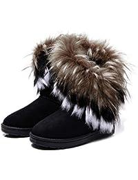 d7e315deb1 ZEARO Damen Winter Schneestiefel Winterstiefel Stiefeletten Schlupfstiefel  Boots Warm Pelz Stiefel