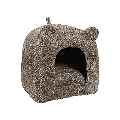 Rosewood Luxury Soft Fabric Teddy Bear Cat Bed/Cave, Brown
