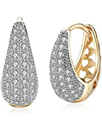 13e5f068d Yellow Chimes Crystals from Swarovski Classic Designer Gold Plated Stylish  Hoop Earrings for Women and Girls