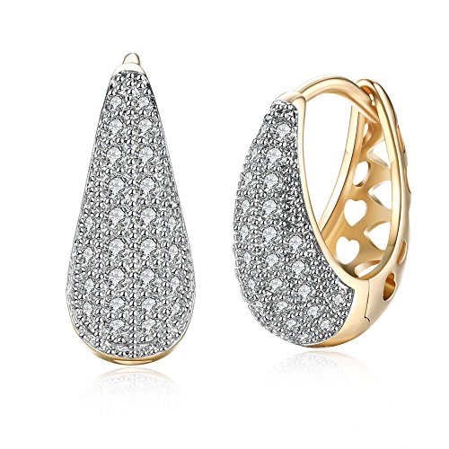 Yellow Chimes Crystals from Swarovski Gold Plated Hoop Earrings for Women (YCSWER-140HOOP-GL)