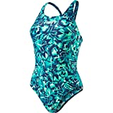 Speedo Damen Rotoscope Powerback Badeanzug mit Allover-Print Swimwear, Navy/Jade/Green Glow/White, 34EU