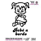 """Artstickers® - Adesivo con scritta """"Bebé a Bordo"""", motivo: bimba,collezione Babyfun, 10colori a scelta + regalo sorpresa 9 cm x 16,2 cm Nero"""