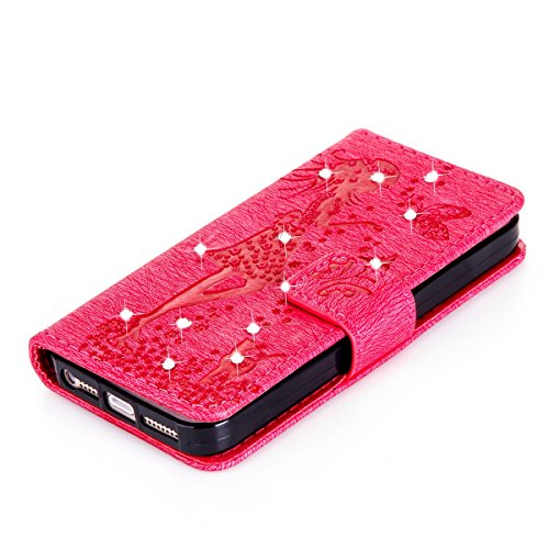 Felfy Coque Etui pour iPhone 5S,iPhone SE Coque Dragonne Portefeuille PU Cuir Etui,iPhone 5S Etui Cuir Folio Housse Rose Tournesol 3D en Relief Motif Leather Case Wallet Flip Protective Cover Etui [PU Chat Hot Rose