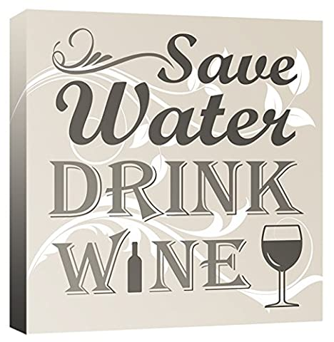 Save Water Drink Wine - Quote Bar, Kitchen - Neutral - Canvas Wall Art Print Picture - Framed and Ready to Hang - Please Choose Your Colour & Size from the Selection Boxes - by Rubybloom Designs