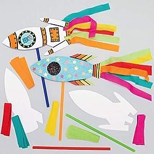 Baker Ross AX180 Kit Bacchette Magiche Con Razzo - Confezione Da 8, Perfetti Per I Bambini Da Decorare E Personalizzare, Ideali Come Regalo Fatto In Casa