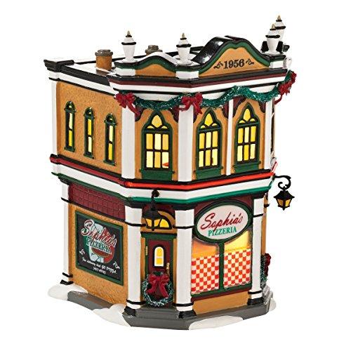 département 56 Snow Village Sophia de Bâtiment Pizzeria Lumineux