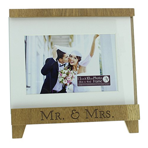 new-view-white-wood-trim-easel-shaped-picture-photo-frame-mr-mrs