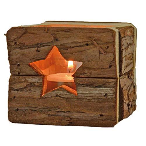 HANTERMANN Windlicht mit Glaseinsatz | Teelichthalter aus Holz | Holz Deko Weihnachten, Stern | 9 x 9 cm | rustikale Weihnachtsdekoration aus Holz | Made in Germany