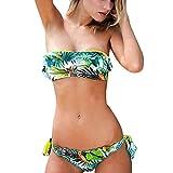 Damen Bikini Sets Bandeau Drucken Push Up Mädchen Badenanzug Gepolstert Niedrig-Taille Sommer Strand Bademode