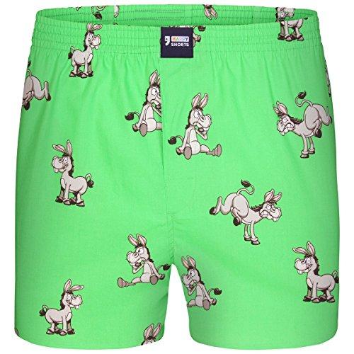 Happy Shorts Boxershorts Herren/Web-Boxer mit Jersey-Innenslip; Modell: Donkeys (M) -