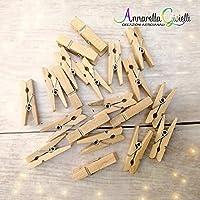 40 pezzi MOLLETTE in legno naturale, 3,5 cm, confettata, avana, mollettine, bomboniere, segnaposto, regali