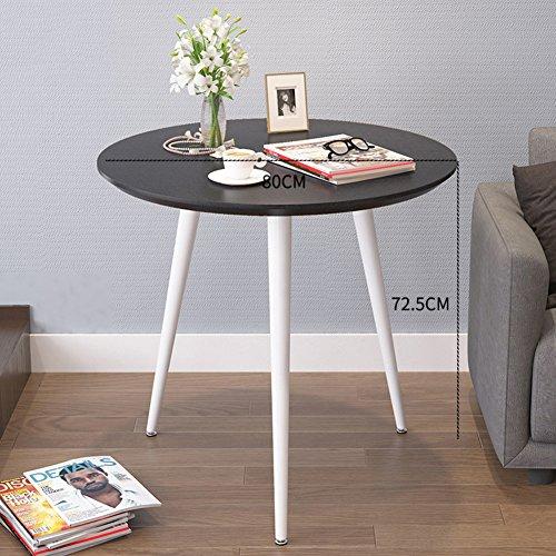 D&l impermeabile tavolino da salotto,tondo tavolini bassi nordico moderna divano tavolino tavolino da telefono bbalcony tavolino da caffè-nero 80x72.5cm