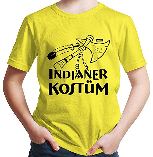 HARIZ  Jungen T-Shirt Indianer Kostüm Karneval Kostüm Plus Geschenkkarte Gelb 140/9-11 ()