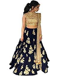 Arawins Women's Party Wear Bollywood Navy Blue Taffeta Velvet Heavy Bridal Wedding Lehenga Choli with Dupatta | Ghagra Choli