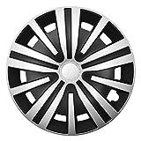 CM DESIGN Spinel Silber Schwarz - 16 Zoll, passend für Fast alle Ford z.B. für Focus 1 mit Fußstütze