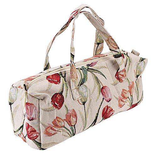 Grande borsa in tessuto, organizer per lavoro a maglia e accessori, per aghi, gomitoli e ferri rose red