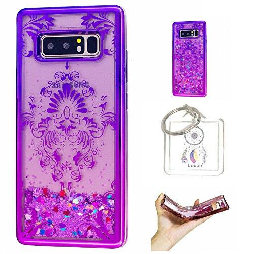 Hülle Galaxy Note8 (6,3 Zoll) Hülle Transparent Hardcase,3D Galvanotechnik TPU Kreative Liquid Bling Hülle Case Für Galaxy Note8 (6,3 Zoll) ,Dynamisch Kristall Handytasche + Schlüsselanhänger (R) (3)