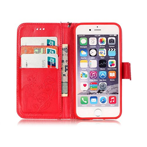 iPhone Case Cover IPhone 6 6S Étui, Premium PU Housse en cuir Housse Folio Flip Stand Case Embossing Étui pour Apple IPhone 6 6S 4,7 pouces ( Color : Pink , Size : IPhone 6S 6 ) Red