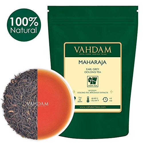 VAHDAM, Maharaja Earl Grey Oolong Tea Loose Leaf, 100g (50 Cups) | 100% Pure Oolong Tea Leaves | Powerful Anti-OXIDANTS | Weight Loss Tea | Brew as Hot, Iced or Kombucha Tea