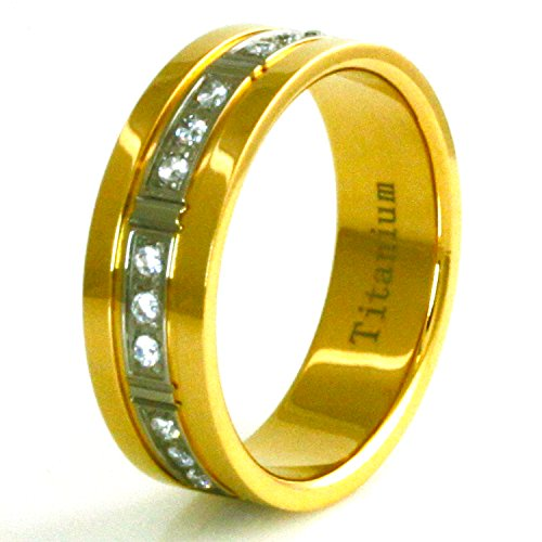 Gold Männer Für Ringe Verheiratet (Vergoldete Titan Dreieinigkeit Zirkonia Ring - Größe 68 (21.6))