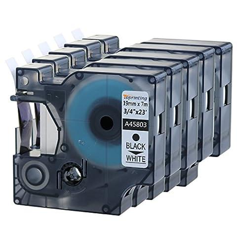 Toprinting 5 Schriftband für Dymo D1 45803 Schwarz auf Weiß 19mm x 7m LabelManager LabelPoint LabelWriter …