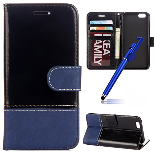 Custodia per iphone 8 4.7, iphone 7 Cover libro, iphone 8 Cover Flip, MoreChioce Lusso Bookstyle Flip PU Pelle Cover Moda Design Cucire in pizzo Retro colore Ultra Slim Thin Portafoglio Custodia, Mor Cucire in pizzo, Azzurro Nero