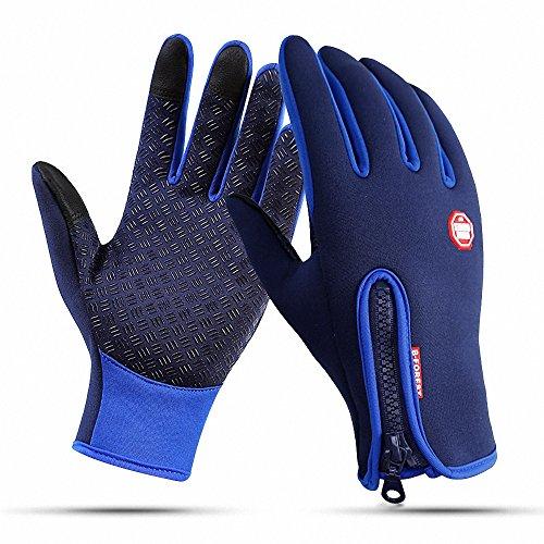 AILEESE Anti-Rutsch Motorrad Winter Warm Outdoor Sport Wandern Radfahren Damen Herren Full Finger Touch Screen Handschuhe (L /Plam width:3.34in, Blau) Finger-touch Screen