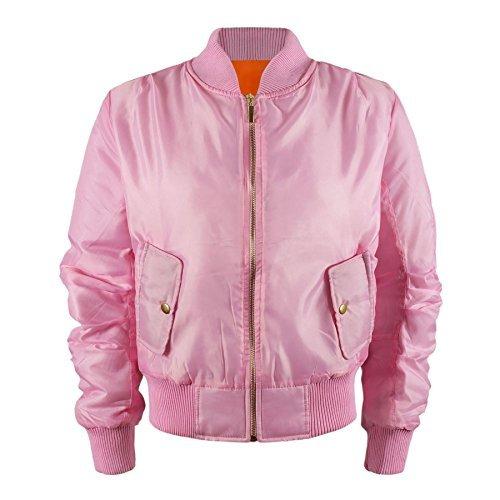 Kinder Mädchen Jungen Kinder Bomber MA1 Stil Jacke Piloten Biker Taschen Mantel Jahre - Rosa, 158