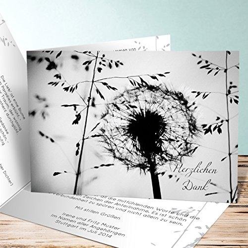Danksagungskarten Trauer selbst gestalten, Vergängnis 10 Karten, Horizontale Klappkarte 148x105 inkl. weiße Umschläge, Grau