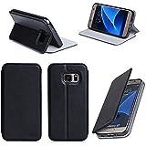 Etui luxe Samsung Galaxy S7 EDGE 4G noir Ultra Slim Cuir Style avec stand - Housse coque de protection Samsung Galaxy S7 EDGE Dual SIM noire à écran incurvé - Prix découverte accessoires pochette XEPTIO case !