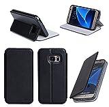 Ultra Slim Tasche Leder Style Samsung Galaxy S7 (LTE / 4G) Hülle Schwarz Cover mit Stand - Zubehör Etui Galaxy S7 Dual SIM Flip Case Schutzhülle (PU Leder, Schwarz) - Vorbestellen XEPTIO accessoires 2016