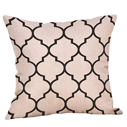 Sanahy Dekorativer Kissenbezug Flachs geometrisch Diamant Linie Sofa Open Air Autokissen Schlafzimmer Wohnzimmer Kissen Ohne Kissen