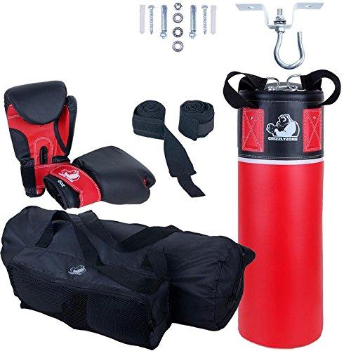 GRIZZLYZONE Box-Set, für Kinder und Jugendliche, mit Boxhandschuhen, Boxbandagen, Deckenhaken und Tasche, 5,5 kg, rot schwarz