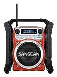 Sangean U4DBT tragbares DAB+ Baustellenradio (UKW-Tuner, Bluetooth, NFC, AUX-In, spritzwasser/staubgeschütztes Gehäuse, Timer) rot/schwarz