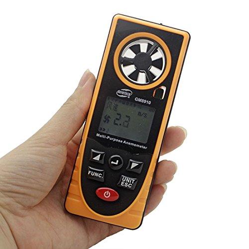 Mehrzweck-Digital-Windgeschwindigkeits-Messgerät GM8910 für Windgeschwindigkeit Barometrischer Druck Höhe Windgeschwindigkeit und Richtungsmesser Geschwindigkeitsmesser Windmessgeräte Anemometer
