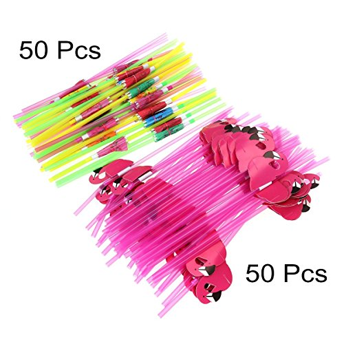 Middletone 100 Stück Flamingo und Regenschirm Strohhalmen Party Geburtstag Kunststoff Cocktailschirmchen Hawaii Party Deko