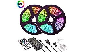 UMICKOO Bande LED étanche 10 m RVB SMD 5050 300 LED Kit de changement de couleur complet avec télécommande infrarouge 44 touches et bloc d'alimentation LED Bande pour la maison, décoration