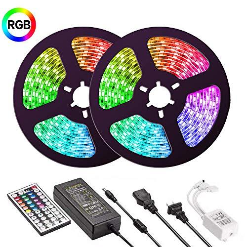 LED Streifen Sync mit Musik, UMICKOO lED Strip IP65 Wasserdicht Musik synchr 10m (2x5m) 5050 RGB 300 LEDs Farbwechsel Sound-Aktivierter Sensor mit Fernbedienung für Hause, Party
