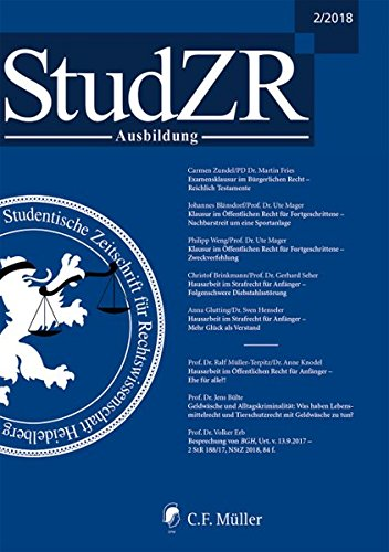 Studentische Zeitschrift für Rechtswissenschaft Ausbildung: Ausgabe 2/2018