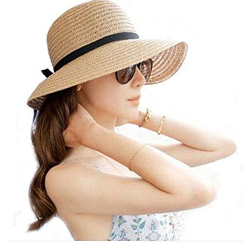 Lonshell_Damen Cap Elegant Strand Trilby Fedora Hut Mode Faltbar Vintage Bowknot Jazz Panama Strohhut Sommer Kappe Frauen Sonnenhut mit Sonnenschutz Breite Krempe (Beige)